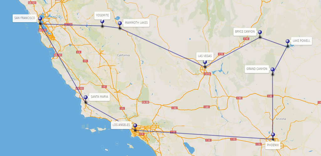 America Occidentale Cartina.Alla Scoperta Dell Ovest 2020 U S A Ovest Neotours Tour Operator Per Stati Uniti Canada Messico Caraibi